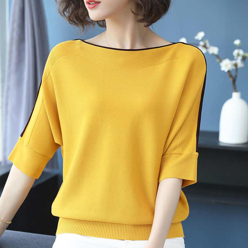Весенне-летний свободный тонкий свитер большого размера, Женский вязаный Топ, Повседневные пуловеры с коротким рукавом, большой размер, женский корейский свитер
