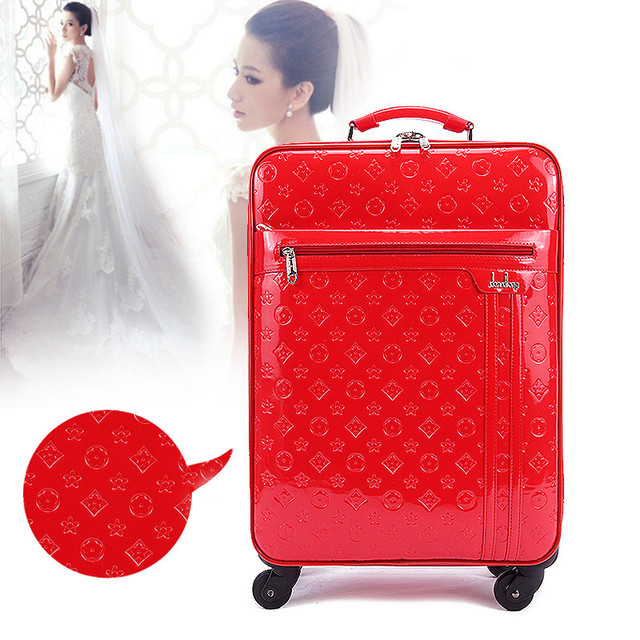 Wholesale!Lovely girl pu leather travel luggage bags on universal wheels,18inch red/blue trolley luggage for brideFGF-0003-18