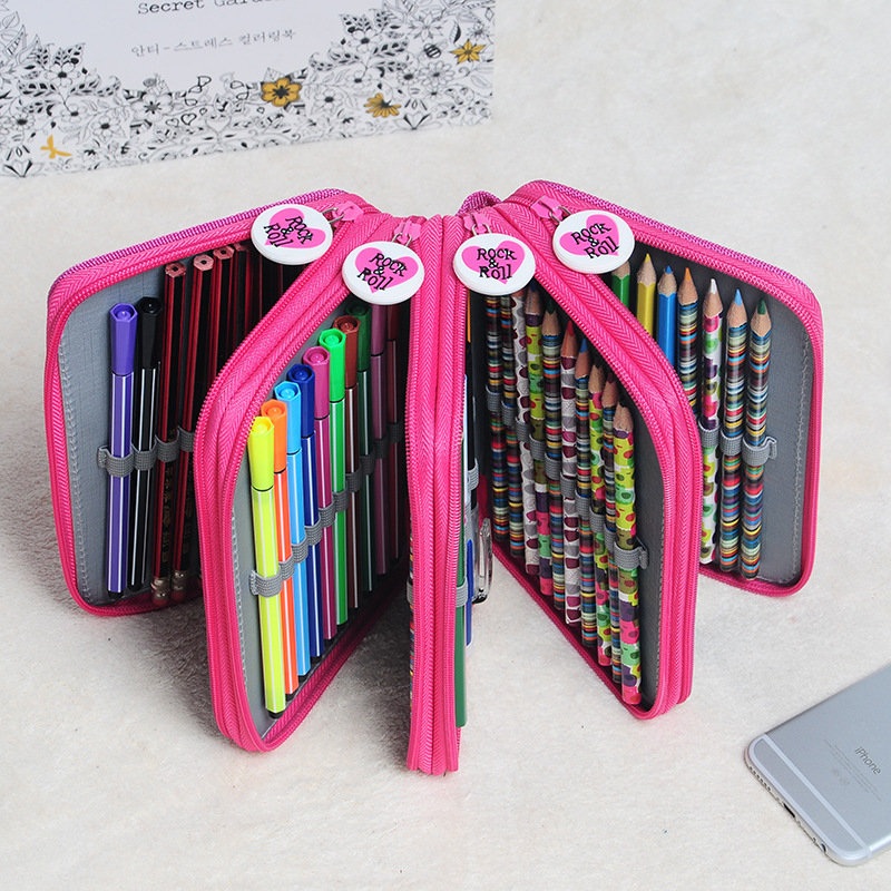 Hot Sale 72 Holders Colored Pencil Sketch Brush PVC Drop Pencil Bag Box Porous Pencil Case Stationery Office School Supplies good quality 36 48 72 holes canvas pencil case roll up sketch painting pen box school office pencil stationery bag b066