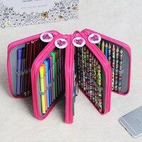 Hot Sale 72 Holders Colored Pencil Sketch Brush PVC Drop Pencil Bag Box Porous Pencil Case