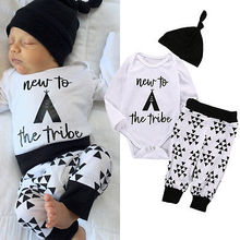 Baby Boy Girl Newborn Infant long sleeve Tops Romper Pants Hat fashion baby clothes 3pcs Set