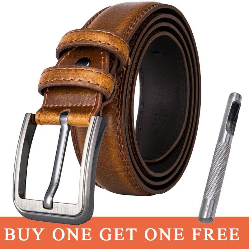 Hi-Tie Dropship Men Leather Belt Pin Buckle Belt Brown Color Male Brand Belt Strap For Men Cummerbunds Ceinture Homme ZG-1008