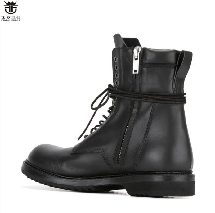 FR.LANCELOT New fashion mens real Leather Ankle lace up Boots flat thick heel Chelsea Boots Mens Autumn Boots working booties