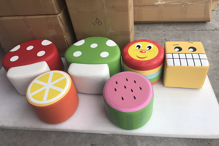environmental PU software wooden frame and sponge cartoon seat stool soft toy plant for children playground YLW-INA171022 environmental pu software footlog with wooden frame and sponge kids soft toy plant children playground set ylw ina171019