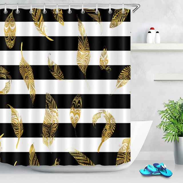 Lb 72waterproof Polyester Black And White Striped Gold Leaf Shower