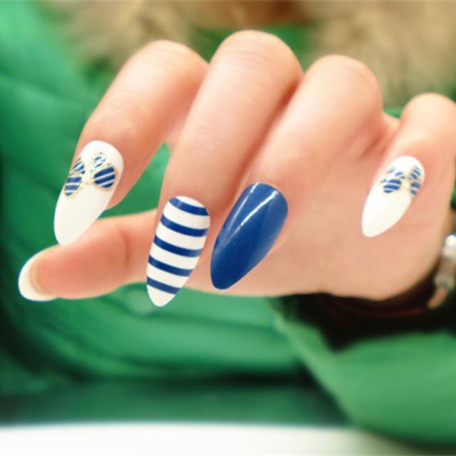 Hot 24pcs Stiletto Nails For Blue And White Stripe Full Cover False Cusp Nail