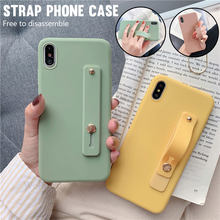 Wrist Strap Hand Band silicone Cases For iPhone XS Max XR 6 6S 7 8 Plus 5 5s X XS Soft Stand Phone Back Cover Candy Color case(China)