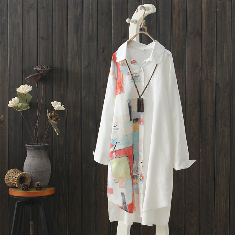2019 summer new long vintage women blouse and shirts printed lady white shirts outwear coat tops