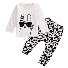 Cute Baby Boy Autumn Cartoon Clothes Baby Girl Long Sleeves T-shirt Tee Fashion Toddler Plaid  Harem Pants Infant Print Outfits