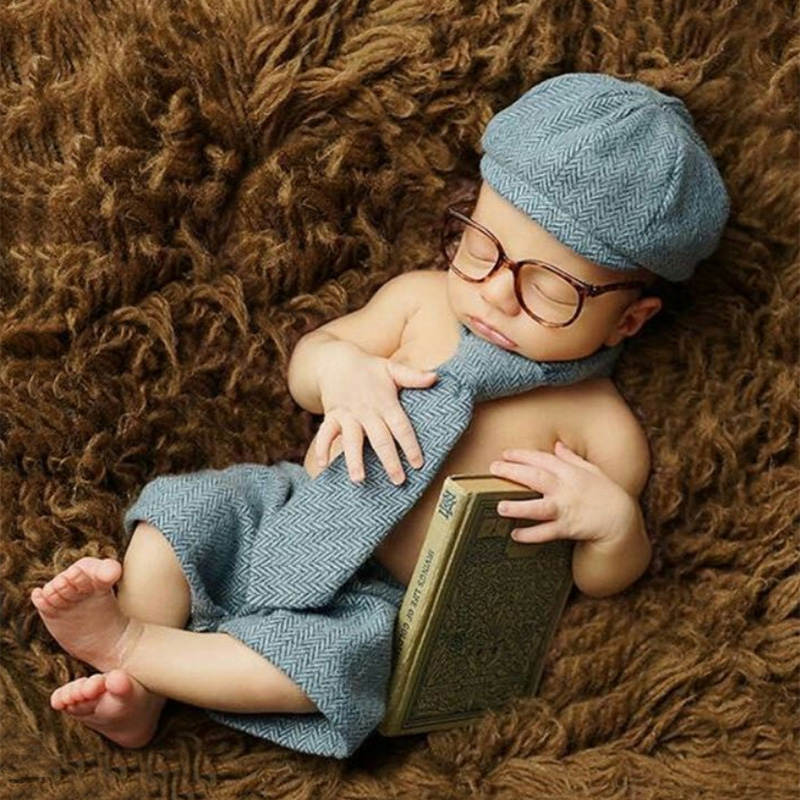Newborn photography props infant baby suit gentleman tie hat toddler boy girl photo accessories new born shooting clothes set 6m baby boy hat pants set with tie little gentlemen cap casquette baby boy costumes for photo shooting baby photography props