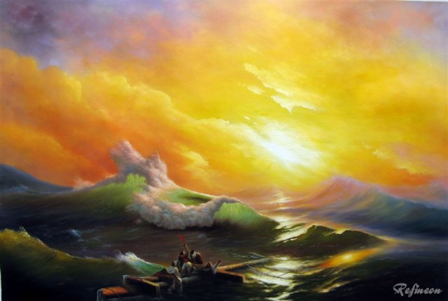 Ivan Aivazovsky Oil Painting Repro The Ninth Wave Kitchen Abstract ...