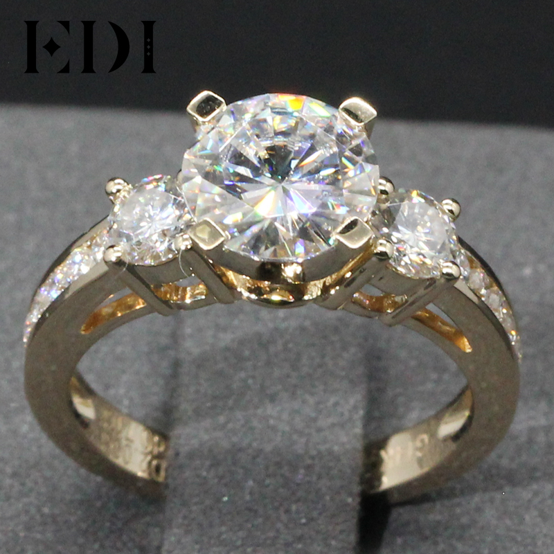 EDI Genuine Lab Grown Diamond 2CT Brilliant Moissanites 14K Yellow Gold Wedding Ring Three-Stone Test Positive Engagement Ring genuine 18k 750 rose gold 1ct hearts arrows test positive lab grown moissanite diamond engagement pendant necklace chain women