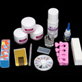 DIY Simple Acrylic Nail Art Tips Kit Liquid Powder Glue Guides Dappen Set Tools