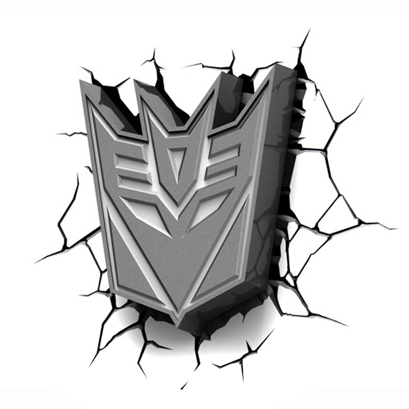 The Marvel 3d Led Authorized Transformers Decepticon Symbol Led Lamp