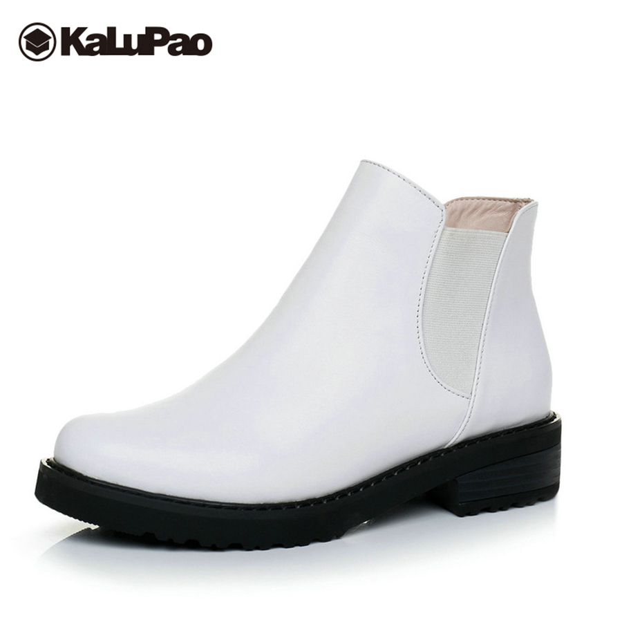 Kalupao white black genuine leather boots women elastic band casual autumn womens boots low heel platform leather boots PlusSize black leather look skater skirt with elastic band