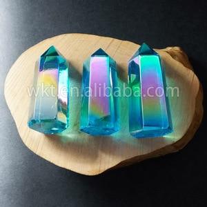 Image 2 - WT G126 Aqua Aura Quartz Crystal Wand, Aqua Aura Wand Point, Aura crystal point, Healing crystal Point, Aqua Blue Aura Quartz