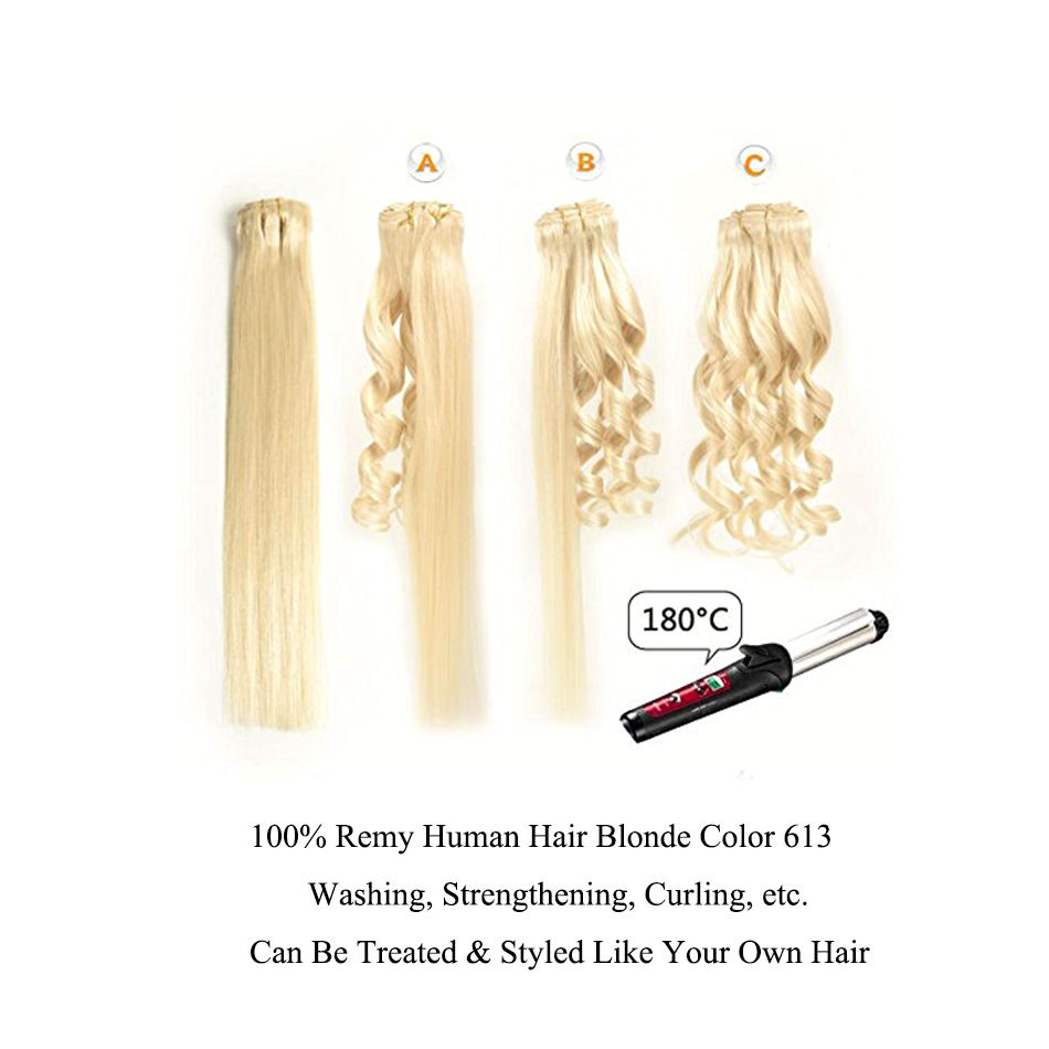 Ali Beauty Clip In Human Hair Extensions Bleach Blonde 613 6 Pieces