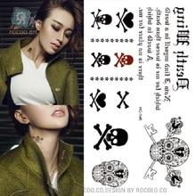 2pcs/ Direct Selling Temporary Tattoo English Letter Tattoo Skeleton Pirates Small Fresh Waterproof Stickers Hc1146