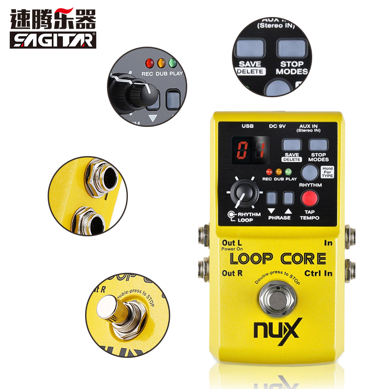 NUX Loop Core Guitar Electric Effect Pedal 6 Hours Recording Time Built-in Drum Patterns nux loop core violao guitar effect pedal durable guitarra effect pedal 6hours recording time guitar accessories