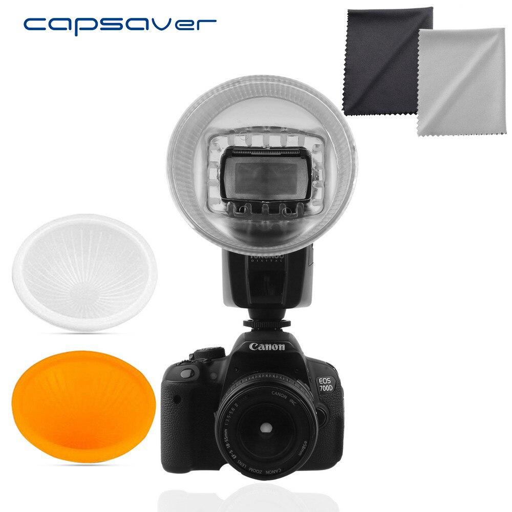 Capsaver Universal Couverture Lambency Diffuseur de Flash pour Canon 550EX 580EX 580EX II 600EX Orange Blanc Dôme Couvre Jeu Lightsphere