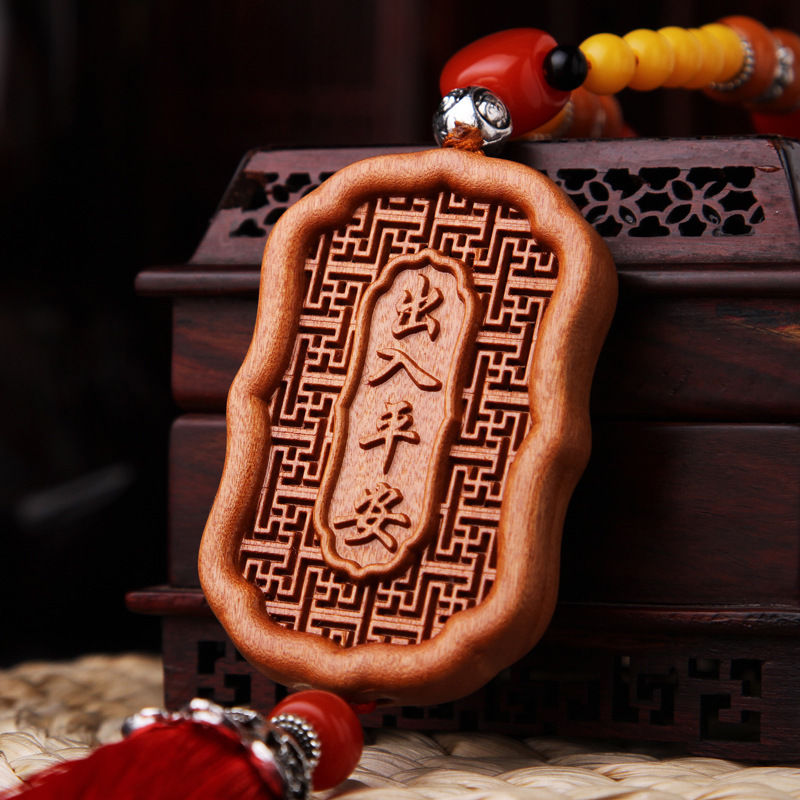 Hollow Out inlay Wood Carving Chinese Guan Kwan Yin Sculpture Amulet Car Hanger