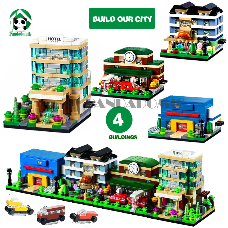 City Urban Buildings Blocks Houses 4 Mini Street Doll House Car Figures Educational Toys Kids Bricks Compatible lepin 6 4 4m bounce house combo pool and slide used commercial bounce houses for sale