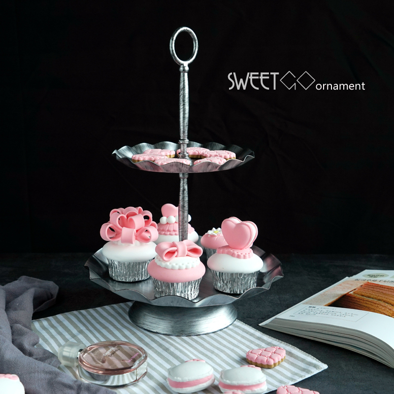 2 niveaux/3 niveaux gâteau stand argent haute qualité fournitures de fête de mariage