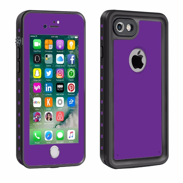 wholesale dealer d9c83 6e2a9 US $12.99 |Waterproof Mobile Phone Case for iPhone7 4.7 inch Touch ID Swim  Surfing Under Water Sports purple for iPhone 7 Case Cover Skin-in Fitted ...