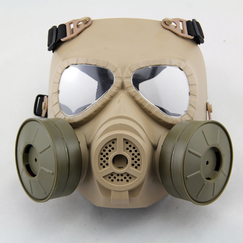 Tactical M04 Full Face Gas Mask With Double Fans Skull Military Airsoft Paintball CS Wargame Cosplay Protective Masks DE
