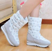 Free Shipping 2016 Fashion Snow Boots For Women Flat Heel Plus Size Winter Boots With Fur Warming Waterproof shoes