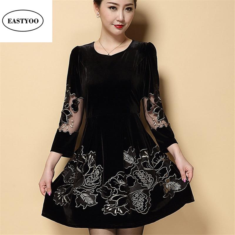 Red Velvet Dress Women Spring Embroidery Vintage Dresses Evening Midi Dress Long Sleeve Vestidos Black Blue Velvet Dresses