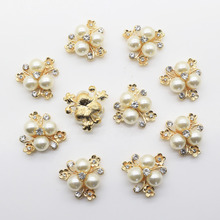 10 pcs lot 2 3cm Flat Back Brooch Alloy Rhinestone Button Pearl Button Decoration For Wedding