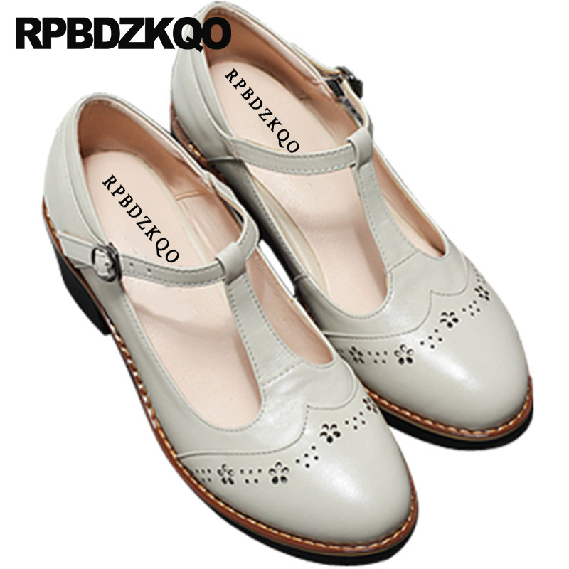 Round Toe Genuine Leather Thick Designer Beige Ladies Mid Heels Shoes Size 4 34 Brogue Vintage Retro 2018 High Quality T Strap ankle strap heels wrap full grain leather t low cut uppers british style high quality round toe single shoes with thick soles
