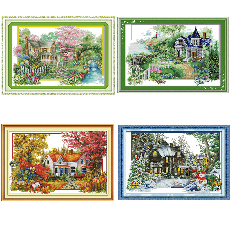 Flowers villa house Paintings DMC Counted Chinese Cross Stitch Kits printed Cross-stitch Patterns sets Embroidery craft suppliesFlowers villa house Paintings DMC Counted Chinese Cross Stitch Kits printed Cross-stitch Patterns sets Embroidery craft supplies