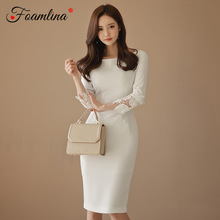 Foamlina Sexy Bodycon Dress Women New Fashion Autumn White Embroidery Lace Patch 3/4 Sleeve Work Party Knee Length Pencil Dress