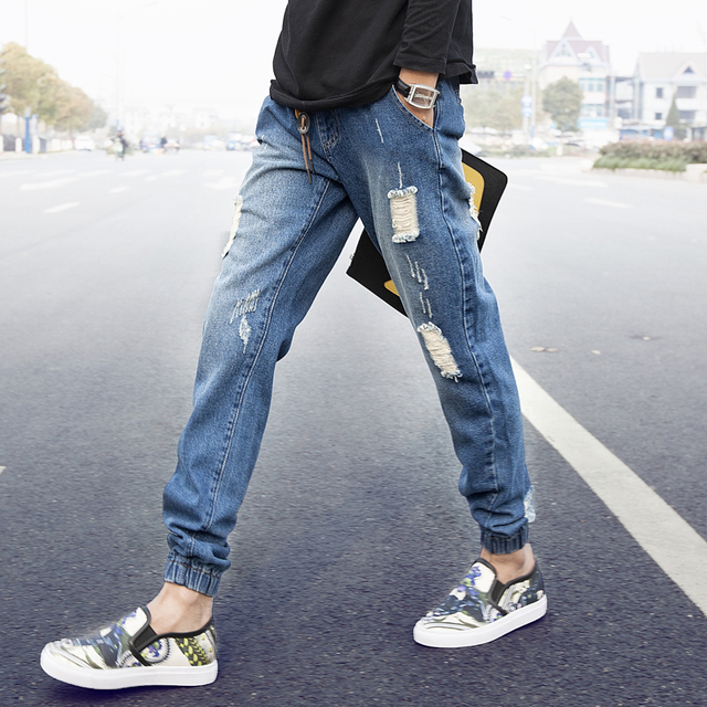 2015 New Arrival Fashion Skinny Full Length Men Harem Pants Denim Pants High Quality Men's Jeans hip hop Joggers