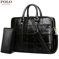 VICUNA POLO Plaid Design Large Capacity Leather Man Handbag Men's Business Laptop Handbag Travel Famous Brand Men Briefcase