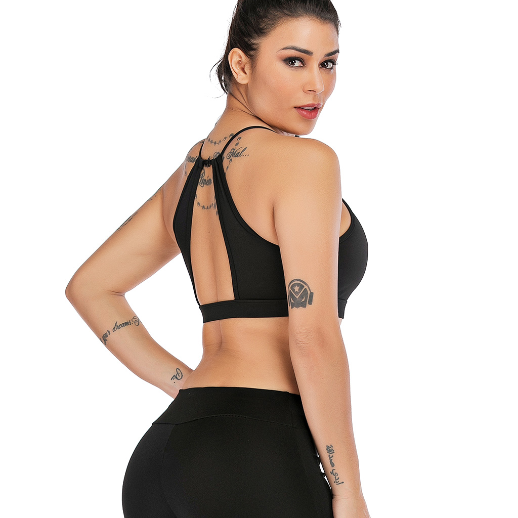 2019 Fashion sexy Color Black Women Sport bra Vest stretch Slim vest top sexy hot bra short Gym Running Athletic Vest in Camis from Women 39 s Clothing