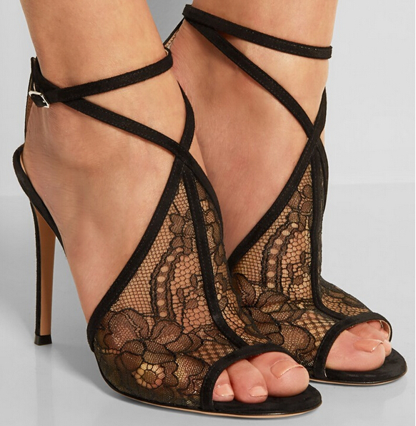 Hot Selling Black Mesh Ankle Strap Women Sandals Peep Toe Cut-out Gladiator Summer Sandals Size 34-42 Free Ship high quality snake print leather cut out women sandals peep toe gladiator summer slippers lady sandals free shipping