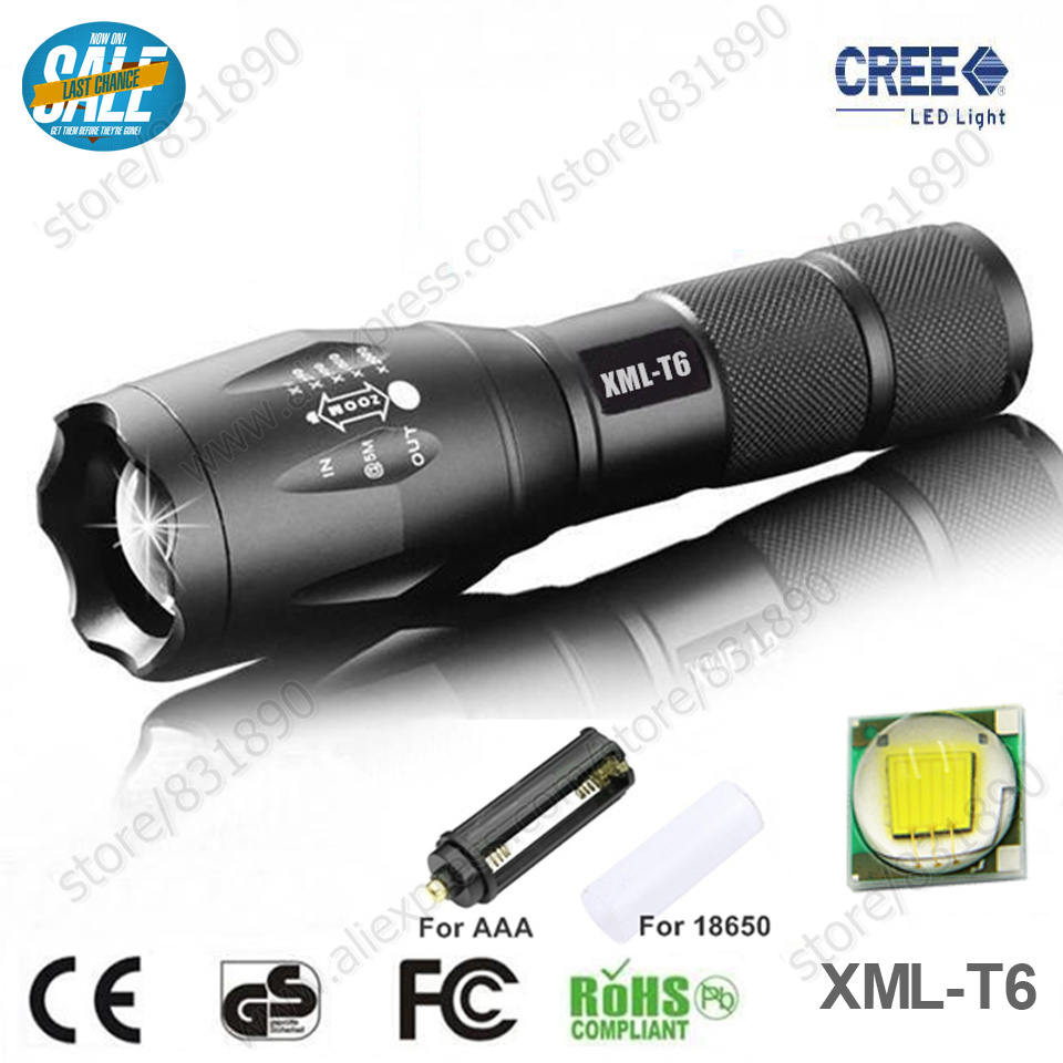 Hot Zoomable 5 Modes LED Flashlight Torch lights XM-L T6 3800LM Aluminum Waterproof light for 18650 Rechargeable or AAA Battery