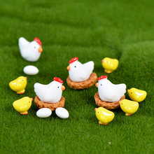 Farm Cosplay Hen Chicken Chick Egg Nest Small Pasture Farmer Statue Figurine Micro Crafts Ornament Miniatures Boy Girl Garden(China)