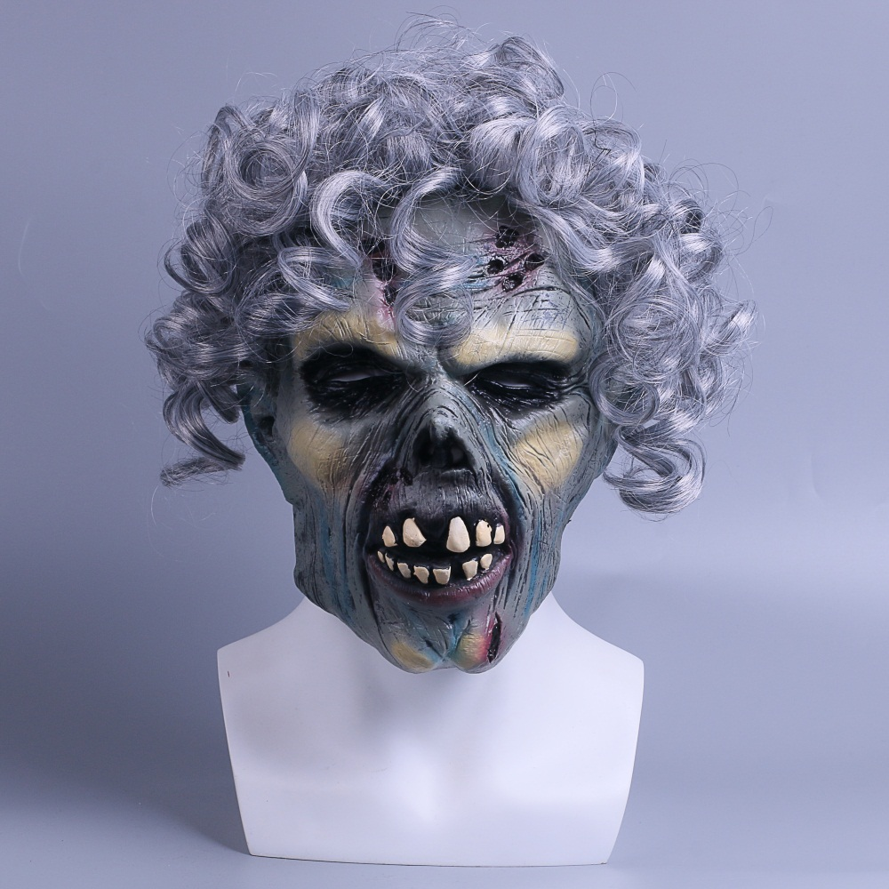 Scary Skull Mask Horror Wavy Hair Devil Face Demon Fancy Party Halloween Mask