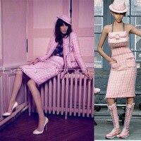 women 2 piece set,pink elegant jacket+skirt suit,wool coat crop top and skirt set,amazing office set,custom plus size 5xl 6xl