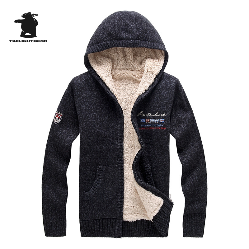 New Winter Mens Sweater Designer Fashion Brocade Plus Size Fleece Thick Hooded Warm Sweater Coat Men Outwear M~2XL BF8807