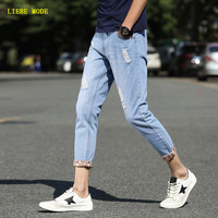 2017 Mens Ripped Ankle Jean Slim Homme Skinny Jeans Male Japanese Style Fashion Brand Plus Size