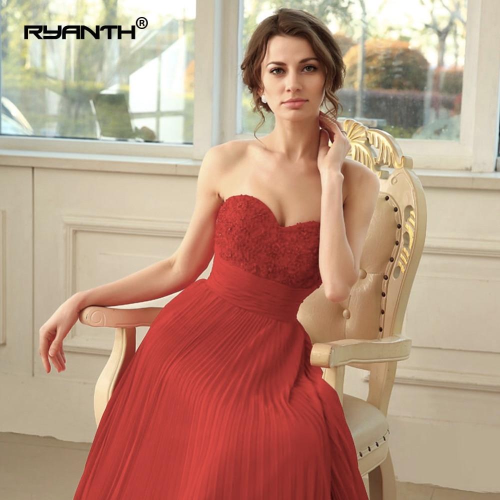 Ryanth Robe De soirée 2018 femmes rouge robes De soirée longue en mousseline De soie Robe formelle fête élégante chérie Simple robes De bal - 5