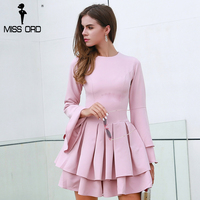 Missord 2017 Autumn And Winter Sexy O Neck Long Sleeve Ruffles Women Casual Elegant Dress FT8435