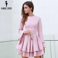 Missord 2017 Autumn And Winter Sexy O Neck Long Sleeve Ruffles Women Casual Elegant Dress FT8435