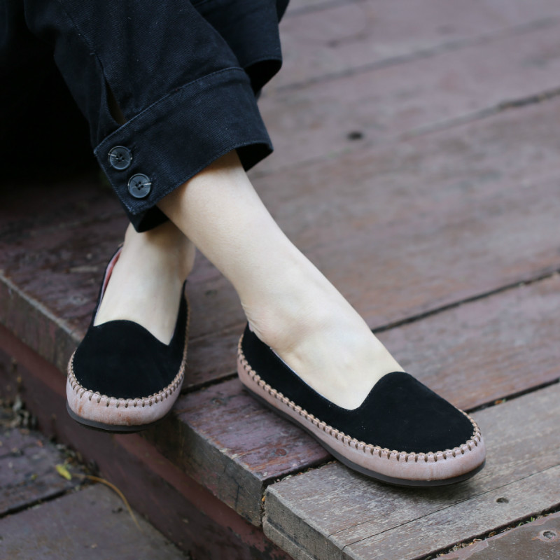 Tyawkiho 2018 Spring Leather Women Loafers Casual Shoes Slip On Blue Women Leather Flats Soft Bottom Handmade Women Flats Retro cresfimix zapatos women cute flat shoes lady spring and summer pu leather flats female casual soft comfortable slip on shoes