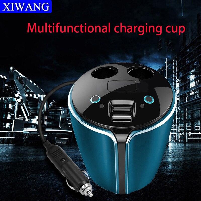 Car quick charger 3.0 socket cup 2 USB adapter portable cigarette lighter splitter car Battery voltage display LED screen smart